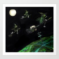 Three Witches On Brooms … Art Print