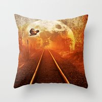 Railway To The Moon Throw Pillow