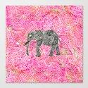 Pink Safari   Tribal Paisley Elephant Henna Pattern Canvas Print