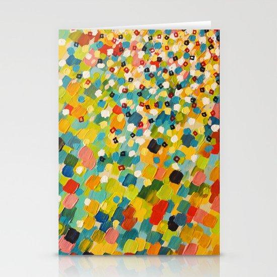 SWEPT AWAY 3 - Fresh Green Colorful Rainbow Ocean Waves Mermaid Splash Abstract Acrylic Painting Stationery Card
