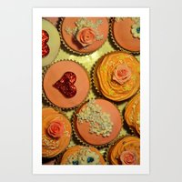Heart and Floral Cupcakes Art Print
