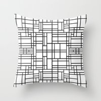 Map Outline Black on White  Throw Pillow
