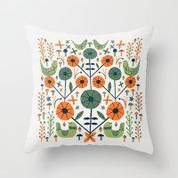 Symmetrical Seventies Birds Throw Pillow