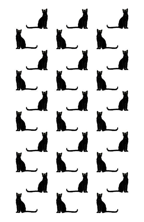 Black cat pattern Art Print