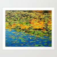 Lilly pond in the style of Monet Art Print