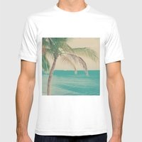 Coco Palm in the Beach  Mens Fitted Tee White SMALL
