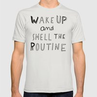 WAKE UP Mens Fitted Tee Silver SMALL