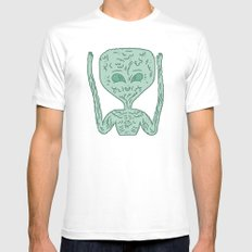 biological robotic avatar  SMALL White Mens Fitted Tee