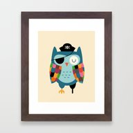 Framed Art Print featuring Captain Whooo by Andy Westface