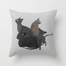 Gang of cats Throw Pillow