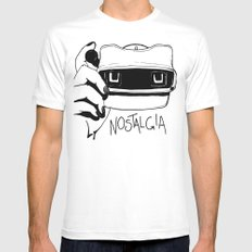 Nostalgia White SMALL Mens Fitted Tee