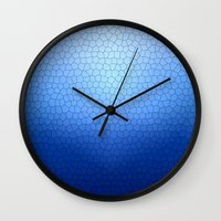 Blue Stained Glass  Wall Clock
