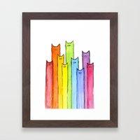 Rainbow Of Cats Framed Art Print