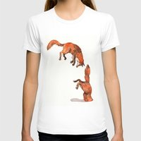 Jumping Red Fox Womens Fitted Tee White SMALL