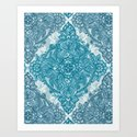 Teal & White Lace Pencil Doodle Art Print
