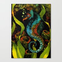 Seahorse In Blue Canvas Print