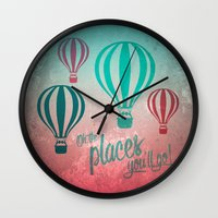 Oh, the Places You'll Go - Coral & Teal Wall Clock