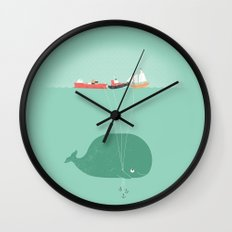 Whale Balloons  Wall Clock