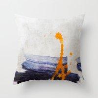 Brush Strokes Blue Orang… Throw Pillow