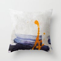 Brush Strokes Blue Orang… Throw Pillow