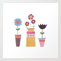 Floral Pots Art Print