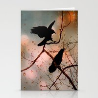 Stationery Card featuring  Rainy Day Crows by The Strange Days Of Gothicolors