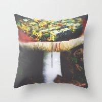 MUSHROOM CITY Throw Pillow