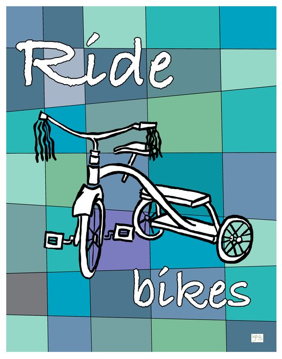 Ride Bikes on Retro Mid Century Blue Palette Background Art Print