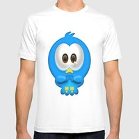 Sad Birdie Mens Fitted Tee White SMALL