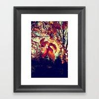 Orange Leafs Framed Art Print