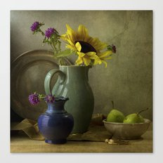 Sunflowers and blue vase Canvas Print