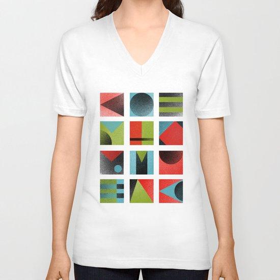Squares V-neck T-shirt