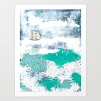 Art Print featuring Ocean and Boat by Sarah Ogren