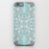Teal and Aqua Lace Mandala on Grey iPhone 6 Slim Case