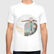The Blue Vespa White SMALL Mens Fitted Tee