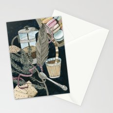Still life with coffee, macarons, pine and feather Stationery Cards