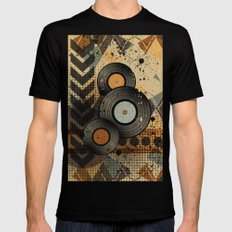 Retro Vinyl. Black SMALL Mens Fitted Tee