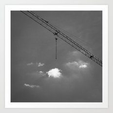 Crane & clouds Art Print