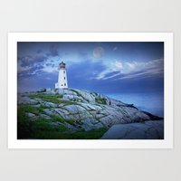 Lighthouse at Peggy's Cove in the Moonlight Art Print