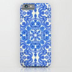 Cobalt Blue & China White Folk Art Pattern Slim Case iPhone 6s