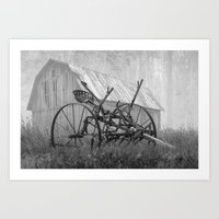 Old Rusted Farm Equipment in the Morning Fog Art Print
