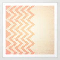 Orange Textured Chevron Art Print