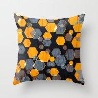 Construct Hex V3 Throw Pillow