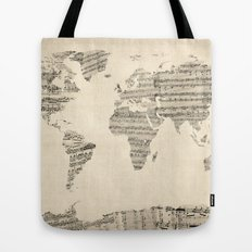 Old Sheet Music World Map Tote Bag