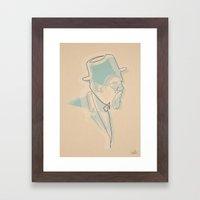 Oneline Monk 2 Framed Art Print