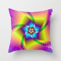 Whirligig in Yellow Blue and Green Throw Pillow