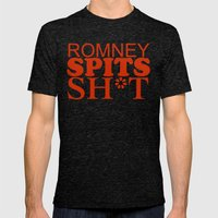 Romney spits sh*t Mens Fitted Tee Tri-Black SMALL