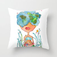 blue girl -- she's a gentle one. Throw Pillow