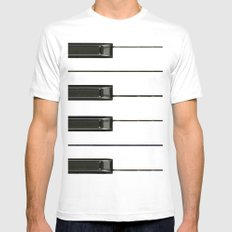 Piano Keys Mens Fitted Tee White SMALL