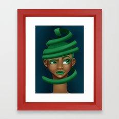 Green Swirls Framed Art Print